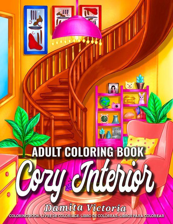 Cozy Interiors Adult Coloring Book by Damita Victoria